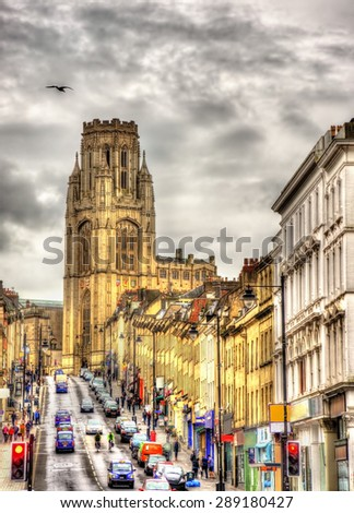 View of The Wills Memorial Building with Park Street in Bristol - England - stock photo