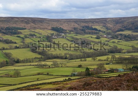 view of the Yorkshire Moors in North England - stock photo