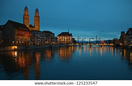 View of the Zurich donwtown (Switzerland, 2013) - stock photo