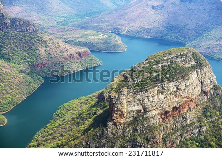 View of Three Rondavels canyon in Kruger Park, Mpumalanga South Africa - stock photo