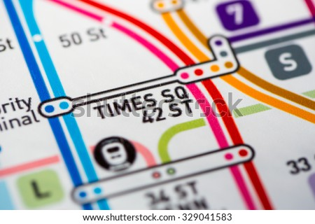 View of Times Sq station on the Seventh Avenue Line, a subway service in NYC. (custom map) - stock photo