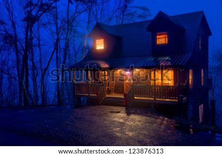 View of tipycal cabin log in the Smoky Mountain National Park area. - stock photo
