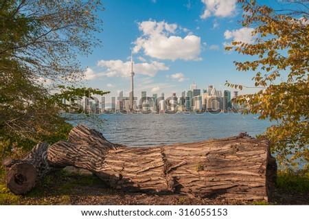View of Toronto skyline from center island with seasonal autumn trees - stock photo