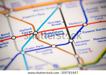 View of Tottenham Court Road station on a London subway map. - stock photo