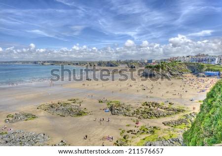 View of Towan beach, Newquay, Cornwall, UK. A popular tourist destination in England. - stock photo