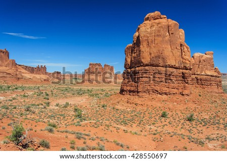View of Tower of Babel, Courthouse Towers and Three Gossips in Arches National Park, Utah, USA - stock photo