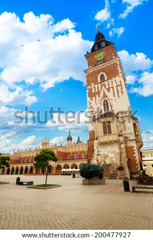 View of Town Hall Tower on Rynek Glowny in Krakow - stock photo