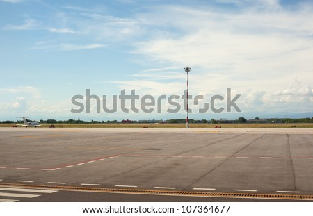 View of Trieste airport in the morning - stock photo