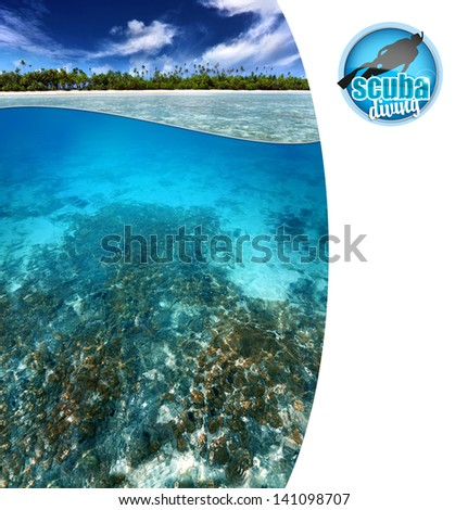 view of tropical reef with copy space - stock photo
