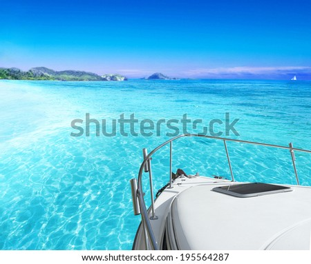 View of tropical sea from yacht - stock photo