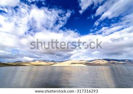 View of Tso Moriri Lake coastline in Ladakh, India. Tso Moriri is a lake in the Ladakhi part of the Changthang Plateau in Jammu and Kashmir in northern India. The lake is at an altitude of 4,522 m. - stock photo