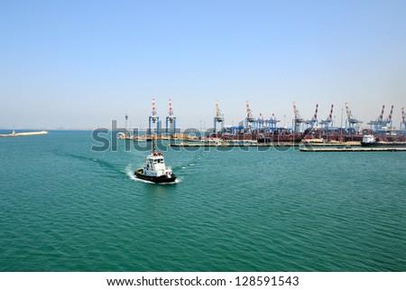 View of tugboat at Haifa port, Israel - stock photo