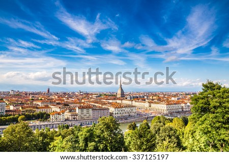 View of Turin city center during summer day-Turin,Italy,Europe - stock photo
