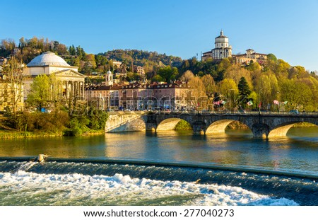 View of Turin over the Po River - Italy - stock photo
