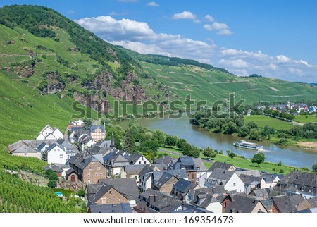 View of Uerzig near Cochem at Mosel River,Mosel Valley,Rhineland-Palatinate,Germany - stock photo