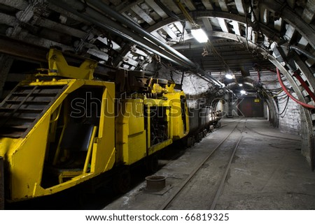 View of underground mine - stock photo