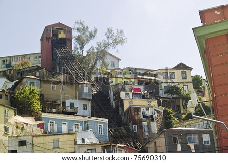 View of Valaparaiso, Chile, with a typical funicular on a hill - stock photo