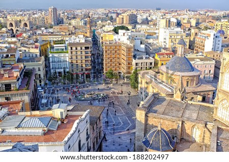 View of Valencia City, Spain, from the Cathedral Tower - stock photo