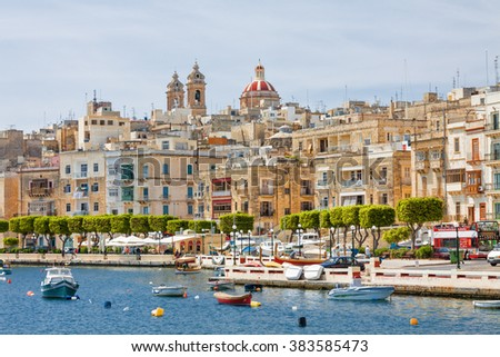 View of Valletta from board of yacht. - stock photo