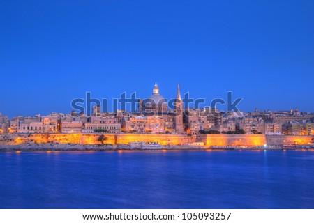 View of Valletta with church dome, Malta - stock photo