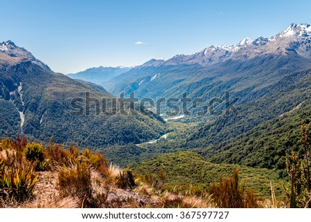 View of Valley from Routeburn Track, New Zealand - stock photo