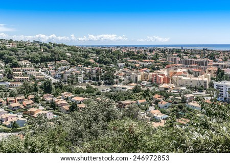 View of valley in Cote dAzur from Cagnes-sur-Mer. Cagnes-sur-Mer (between Nice and Cannes) - commune of Alpes-Maritimes department in Provence Alpes - Cote d'Azur region, France. Europe. - stock photo