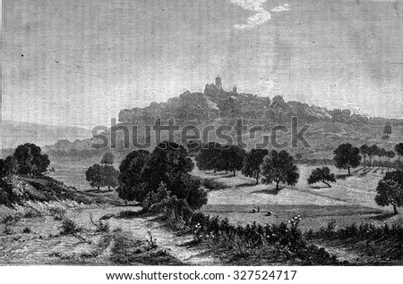 View of Vazelay evening by Adolphe Guillon, vintage engraved illustration. Magasin Pittoresque (1882).  - stock photo