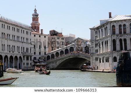 View of Venice the Rialto bridge and the Canal Grande - stock photo