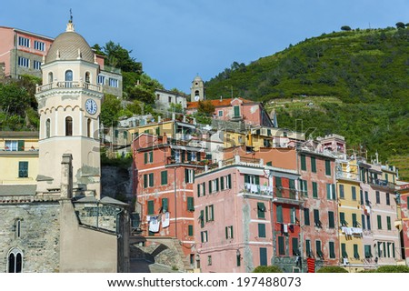 View of Vernazza. Vernazza is a town and comune located in the province of La Spezia, Liguria, northwestern Italy.  - stock photo