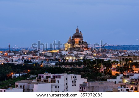 View of Victoria, Gozo, Malta vith Rotunda of St. John the Baptist. - stock photo