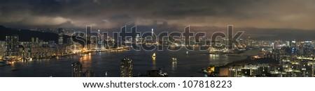 View of Victoria harbor of Hong Kong - stock photo