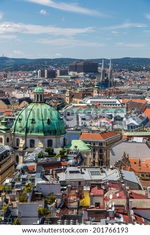 View of Vienna city from the roof, Austria - stock photo