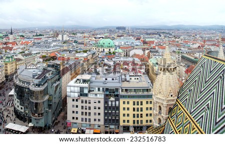 View of Vienna from the St.Stephan Cathedral roof - stock photo