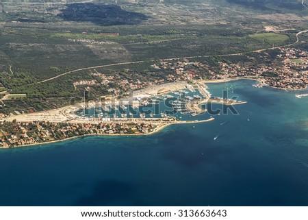 View of village Sukosan and marina Dalmacija, Croatia, Dalmatia county with islands in the background - stock photo