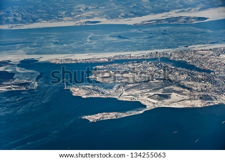 view of Vladivostok city from the airplane, Far East, Russia - stock photo