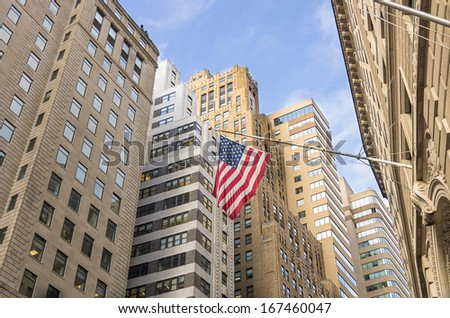 View of Wall Street,the financial district of New York - stock photo
