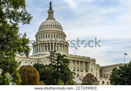 View of Washington D.C. showcasing the architecture of the Capitol building. - stock photo