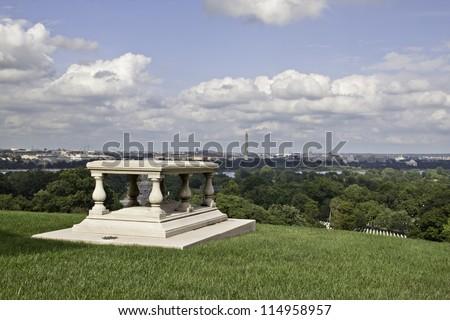 View of Washington DC from Arlington National Cemetery - stock photo