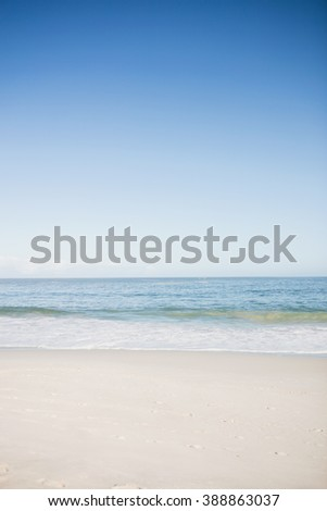 View of water edge of the beach - stock photo