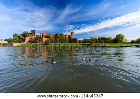 View of Wawel Castle  with ducks on VIstula river in Krakow, Poland - stock photo