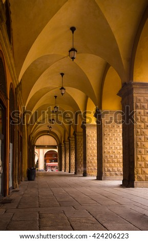 view of well known arches of Bologna, Italy