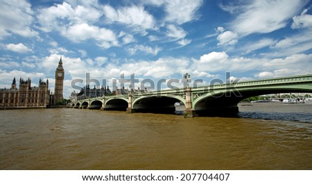 View of Westminister Bridge and Big Ben  - stock photo