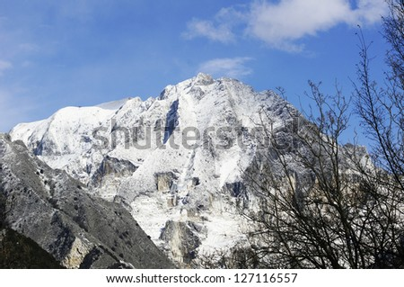 View of white marble quarries from Codena in the municipality of Carrara (Tuscany, Italy). - stock photo