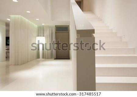 View of white pure detached house interior - stock photo