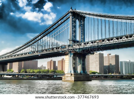 View of Williamsburg Bridge from East River. Watercolor - stock photo