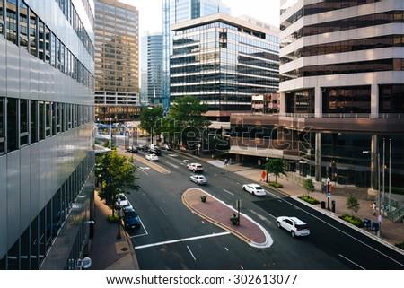 View of Wilson Boulevard and modern buildings in Rosslyn, Arlington, Virginia. - stock photo