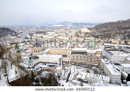 View of winter Salzburg - stock photo