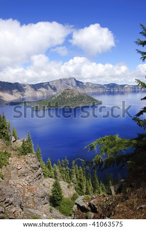 View of Wizard Island in Crater lake, an extinct volcanic caldera - stock photo