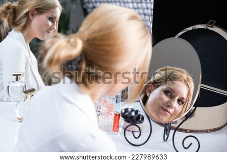 View of woman during morning before wedding - stock photo