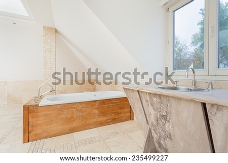 View of wooden elements at the bathroom - stock photo
